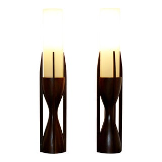 Mid-Century Modern Modeline Sculptural Mahogany Opaline Glass Table Lamps - a Pair For Sale