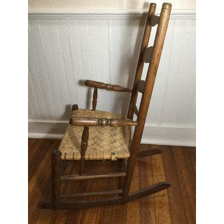 Farmhouse Rocking Chair With Rush Weave Seat Preview