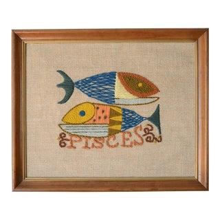Vintage Modernist Tapestry Pisces Wall Hanging