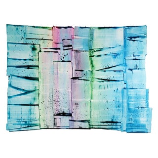 "Sarah Irvin ""Convey"" Colorful Large Abstract Painting on Paper For Sale"