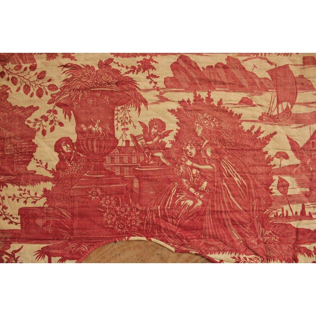Antique French Toile l'Art d'Aimer Chef De Piece Bordeaux Coverlet For Sale - Image 10 of 12