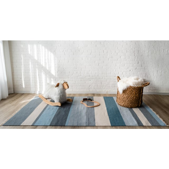 "Erin Gates Thompson Brant Point Blue Hand Woven Wool Runner 2'3"" X 8' For Sale - Image 4 of 5"