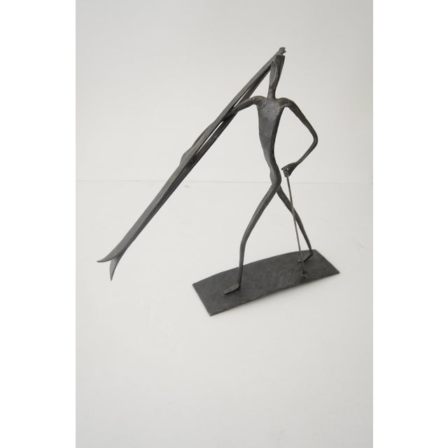 Metal Bronze Skiing Figures Sculptures Initialed Bb Dated 1967 - a Pair For Sale - Image 7 of 8