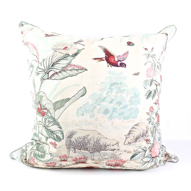 This pillow was created from a rare block printed French fabric from the mid 1800's. A roller was used to create the...