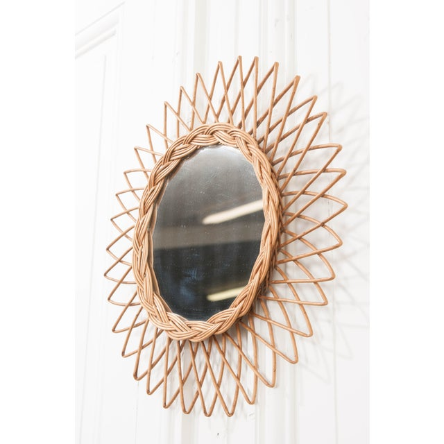 English Vintage Rattan Sunburst Mirror For Sale - Image 4 of 9