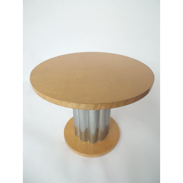 Deco Style Round Chrome & Sycamore Side Tables - A Pair - Image 5 of 10