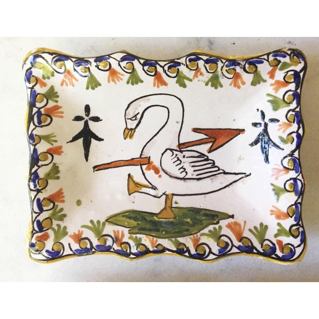 """Pair of French faience swan dishes, circa 1910. Signed """"Blois."""""""