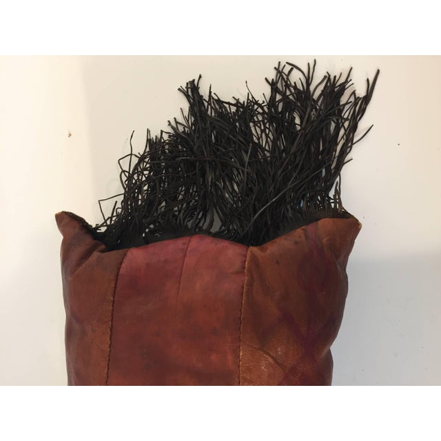 African Tuareg Leather Pillow With Fringes For Sale - Image 4 of 10