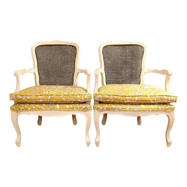 20th Century French Country Cane Back Chairs - a Pair For Sale