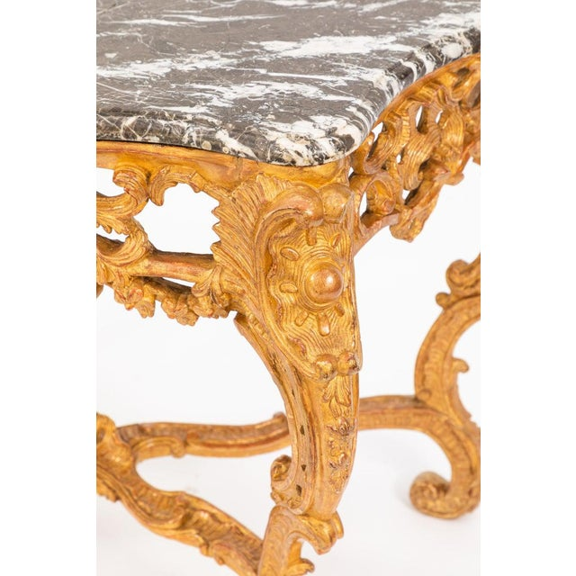 19th Century French Giltwood Consoles With Marble Tops - a Pair For Sale - Image 4 of 10