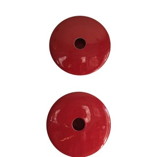 Art Deco Geometric Red Pottery Sculpture Planters - a Pair For Sale