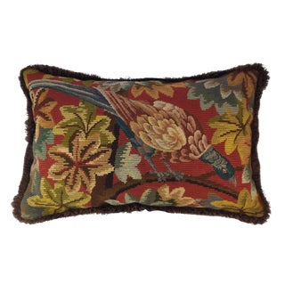 1920s Traditional Style Bird Needlepoint Pillow For Sale