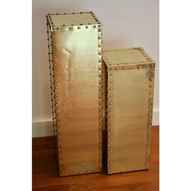 Sarreid-Style Brass Studded Pedestal (Smaller Pedestal Only) - Image 5 of 11
