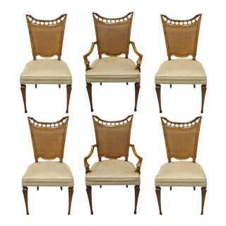 John Widdicomb Hollywood Regency French Style Cane Back Dining Chairs - Set of 6 For Sale