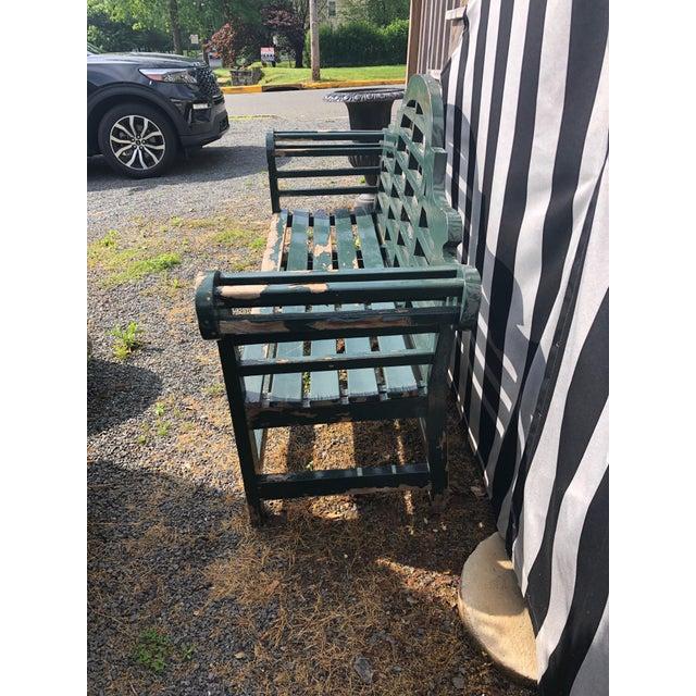 English Edwardian Lutyens Style Bench in Teak For Sale - Image 9 of 10
