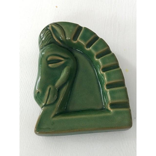 Art Deco Green Ceramic Glazed Horse Sculpture - Image 4 of 5