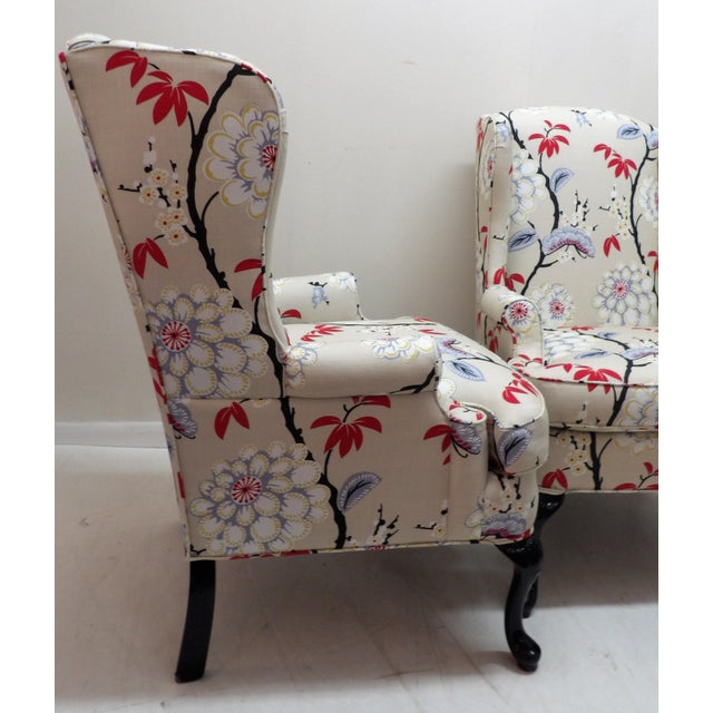 Floral Upholstery Wingback Chairs - a Pair For Sale - Image 4 of 8
