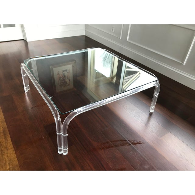 Vintage Mid Century Modern Lucite and Glass Dorothy Thorpe Style Square Coffee Table For Sale - Image 10 of 12