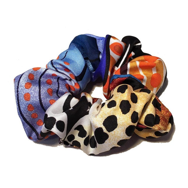 Vintage Hermes silk scarf reinvented into new hair tie scrunchies. sturdy elastic inside cut precisely to hold your hair...