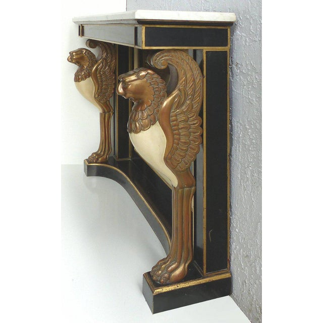 Traditional Carved Wood and Marble Empire Revival Console Table, Manner of Maison Jansen For Sale - Image 3 of 10