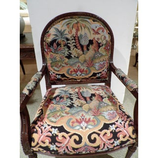 Vintage Colorful Tapestry Upholstered Bergere Chair Preview