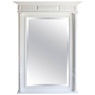 1900s Antique French 19th Century Neoclassical White Wall Mirror For Sale