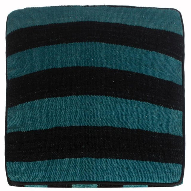2010s Arshs Deedee Blue/Black Kilim Upholstered Handmade Ottoman For Sale - Image 5 of 8