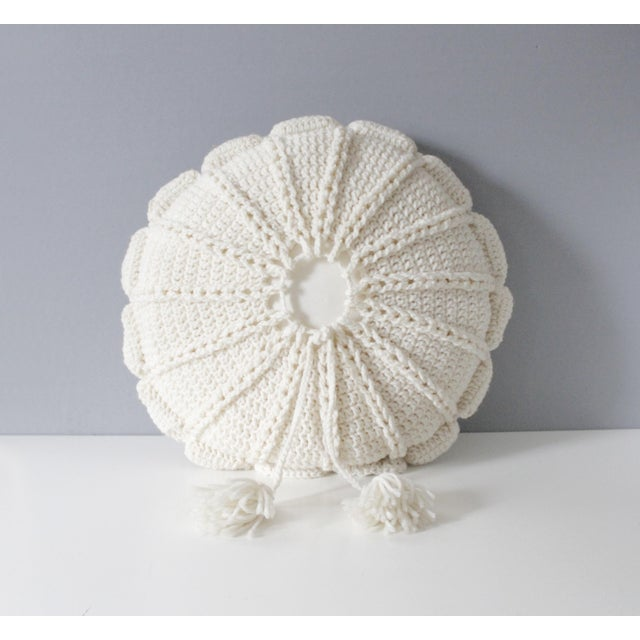 1970's Vintage Knit Macrame Tassled Round Pillow - Image 2 of 3