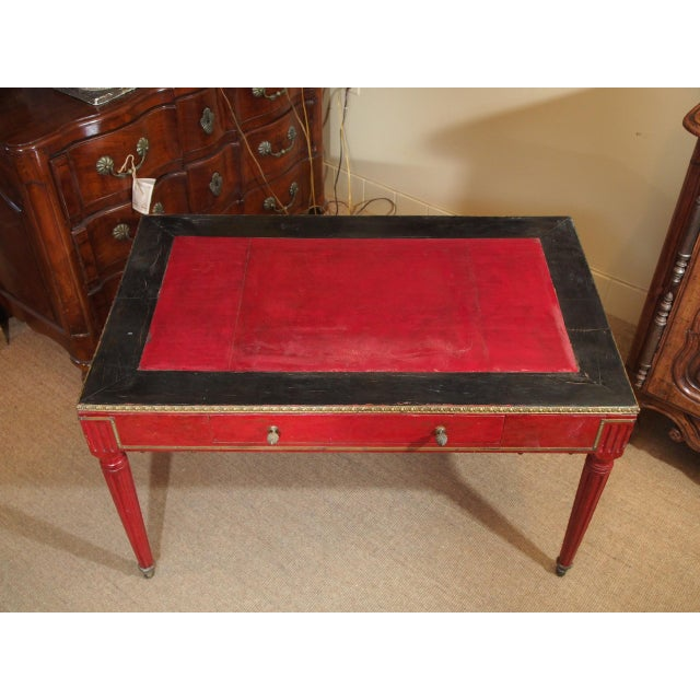 1900 - 1909 Vintage French Leather Writing Desk For Sale - Image 5 of 10