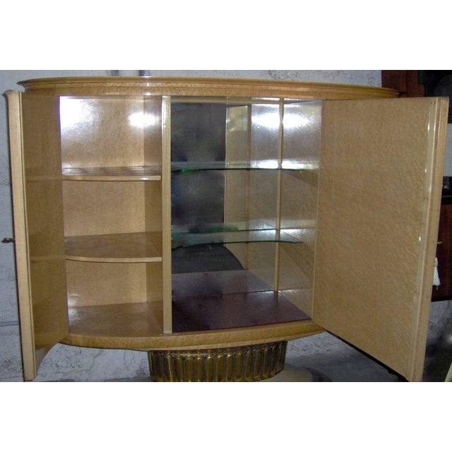 Metal 1940 Italian Parchment Cabinet or Bar With Bird's-Eye Maple Interior For Sale - Image 7 of 10