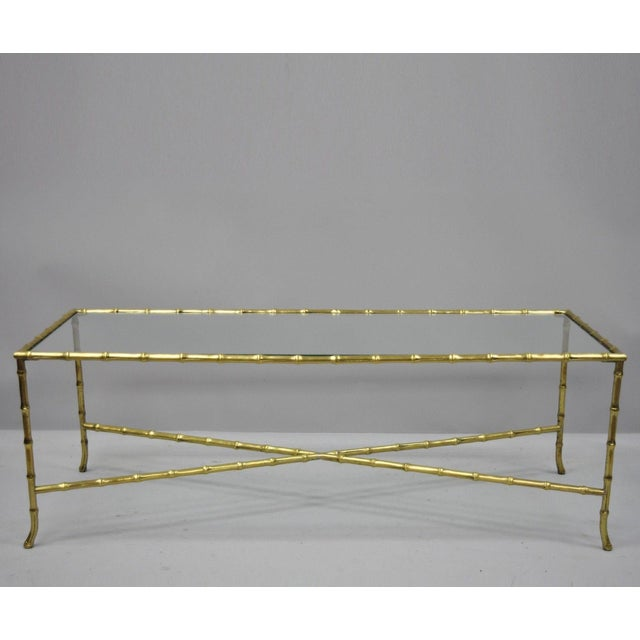 Maison Bagues French Bronze Faux Bamboo Glass Rectangular Coffee / Cocktail Table For Sale - Image 11 of 11
