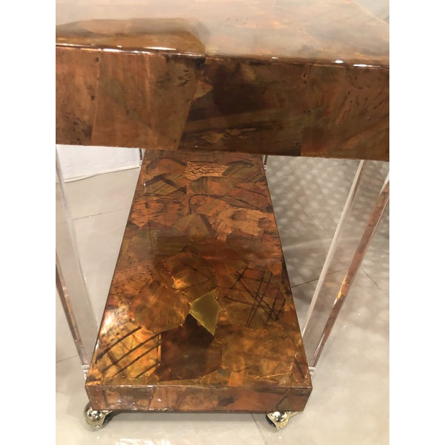 Metal Vintage Brutalist Copper Brass Mixed Metals Patchwork Lucite Bar Cart For Sale - Image 7 of 13