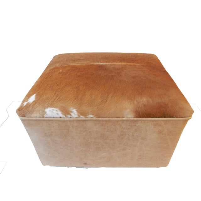 Animal Skin LG Cow Hide & Faux Leather Ottoman For Sale - Image 7 of 10