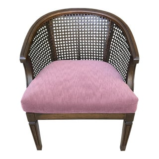 Vintage Cane & Velvet Barrel Chair For Sale