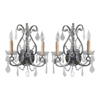 Sherle Wagner Wrought Iron and Crystal Sconces - Pair For Sale