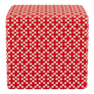 Cube Ottoman in Red Hopscotch For Sale