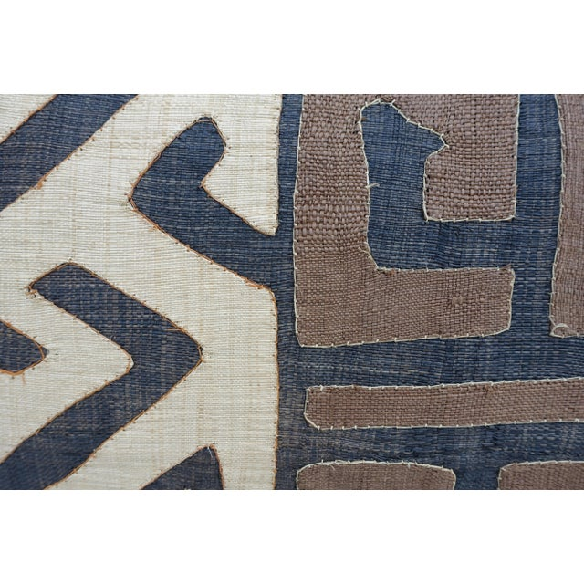 Wheat, Brown & Black African Cloth Kuba Pillow - Image 4 of 4