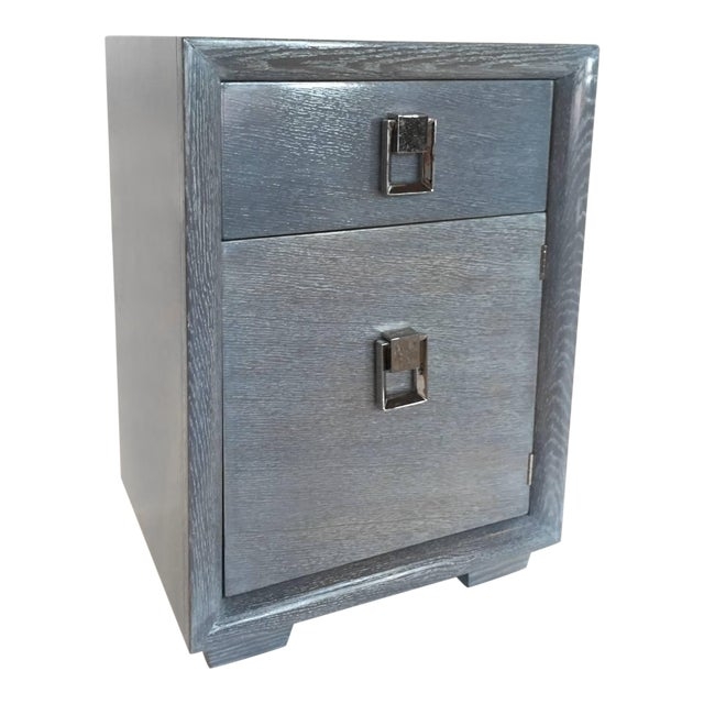 1940s Cerused Grey Oak Nightstand or Side Table - Image 1 of 5
