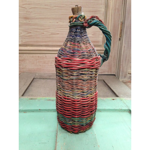 Red European Mid-Century Tramp Art Wire Miners Bottle For Sale - Image 8 of 8