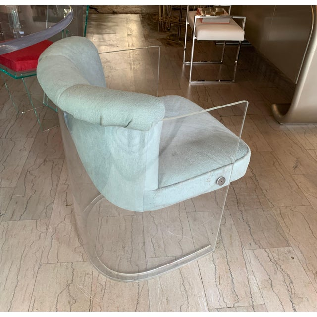 Set of 4 Barrel Chairs in Lucite and Pony Hair Leather For Sale - Image 11 of 12