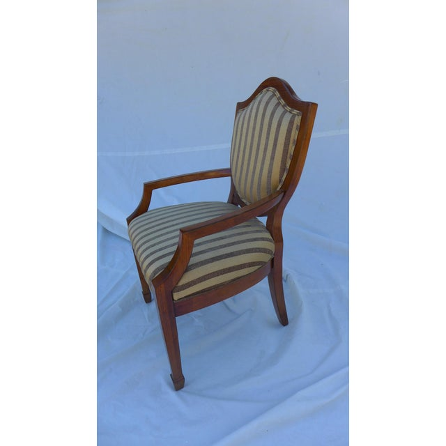 Neoclassical Shield-Back Striped Armchair For Sale - Image 3 of 7