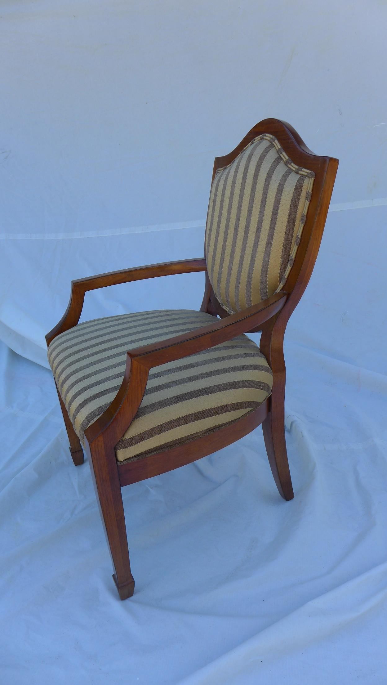 Neoclassical Shield Back Striped Armchair For Sale   Image 3 Of 7