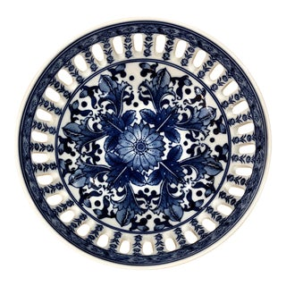 Chinoiserie CEramic Blue Floral Bowl in Blue and White For Sale
