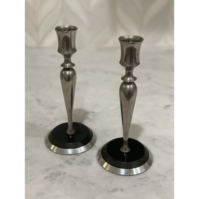 Metal Mid-Century Metal and Stone Candlesticks - a Pair For Sale - Image 7 of 9