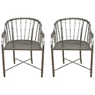 1960s French Jacques Adnet Style Faux Bamboo Steel Chairs, Pair For Sale