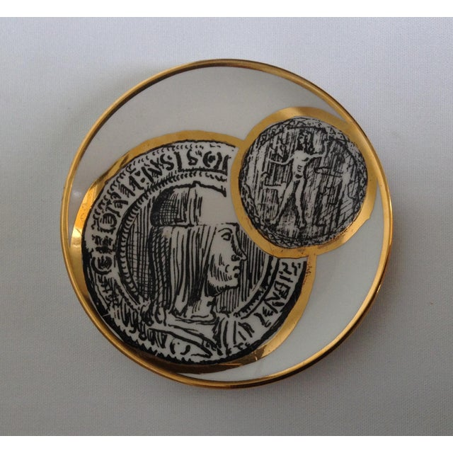 Gold Italian Porcelain Gilt Roman Coin Drinks Coasters - Set 6 For Sale - Image 8 of 11