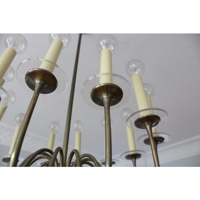 Metal 1960s Mid-Century Modern Brass & Lucite Chandelier For Sale - Image 7 of 8