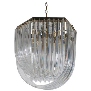 Mid-Century Italian Modern Hollywood Regency Brass and Curved Lucite Chandelier