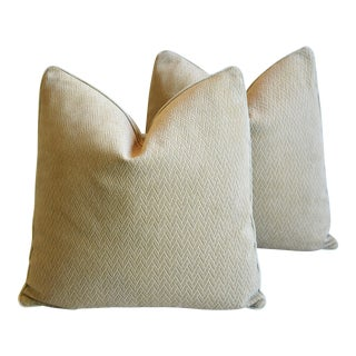 Designer Eldeman Tanned Leather & Cut Velvet Pillows - Pair