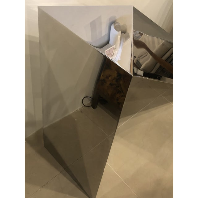 Vintage Modern Polished Stainless Steel Zig Zag Geometric Console Table For Sale - Image 4 of 12